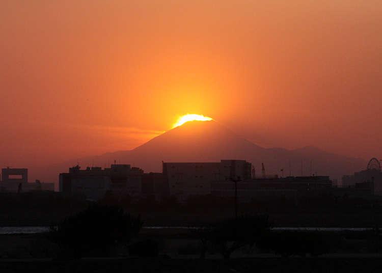 閃耀光芒的「鑽石富士山」