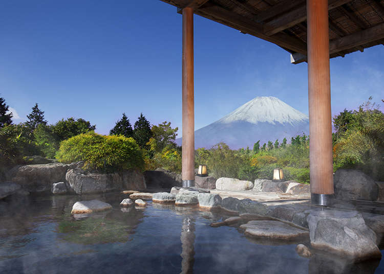 富士山を見ながら露天風呂を体験!