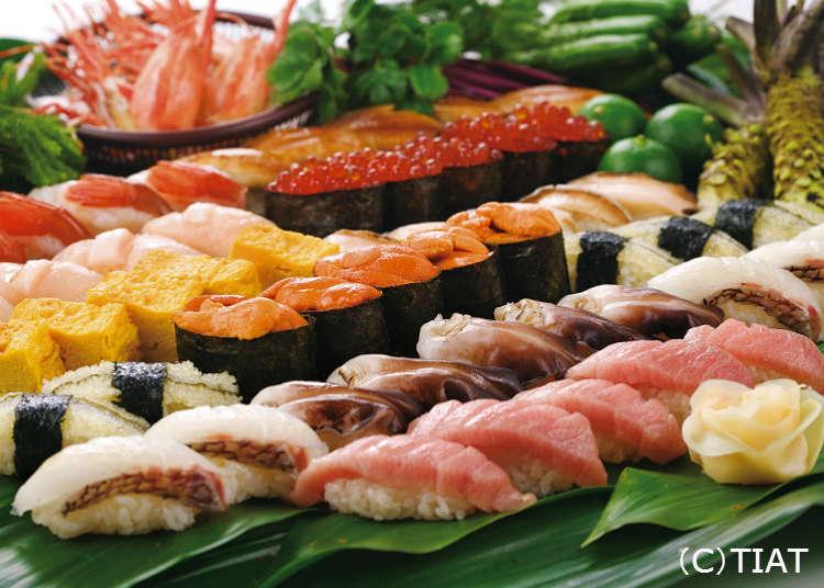「魚がし日本一」で寿司を味わう