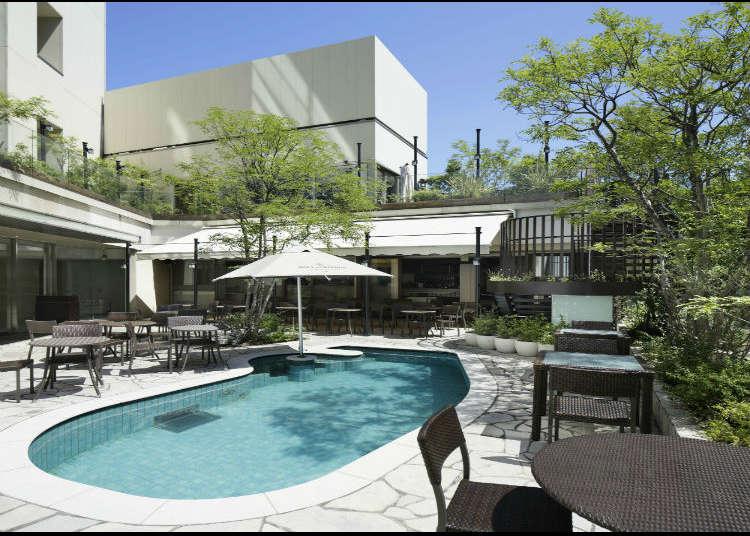 Enjoy the resort-like poolside terrace café