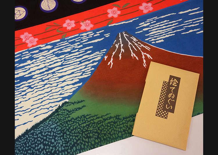 """""""E-tenugui"""" (sapu tangan) yang menggambarkan gaya Jepun"""