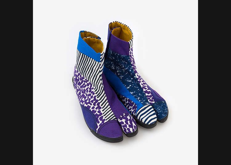 色彩鲜艳的时尚胶底袜