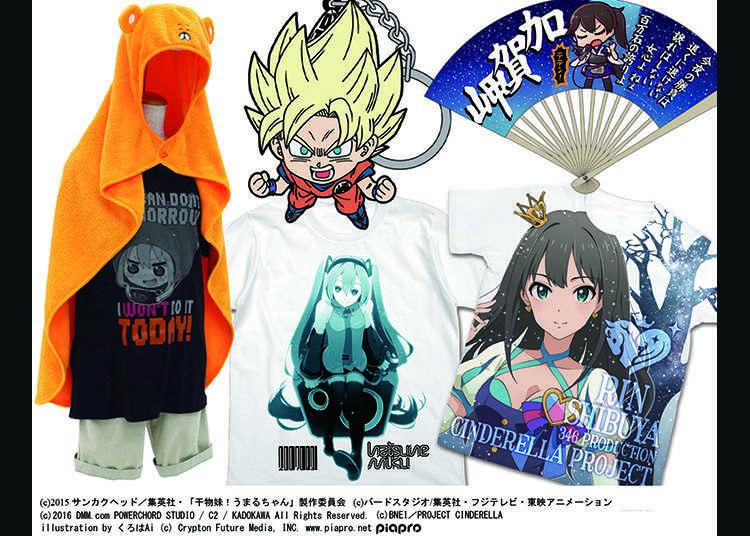T-shirt dan barangan watak anime