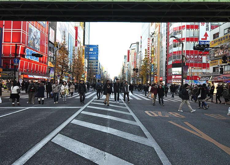 Try to walk around Akihabara pedestrian zone