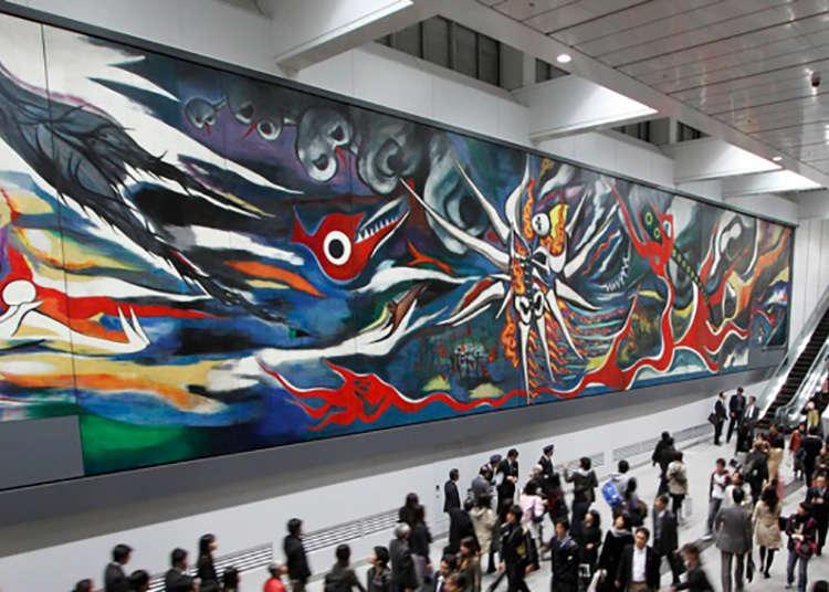观赏冈本太郎的绘画
