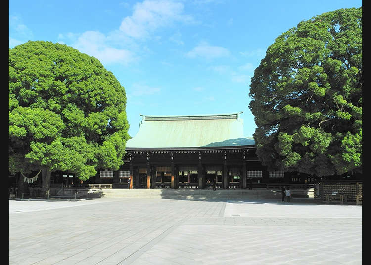 Go to the honden (main shrine building) where the Gods reside