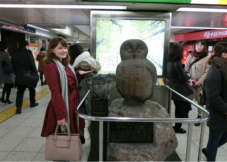 有企鵝像的地方貓頭鷹石像