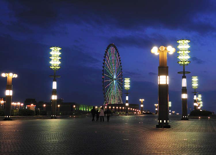 "Mengambil gambar lampu-lampu bercahaya di ""Yume no Oohashi (Dream Bridge)"""