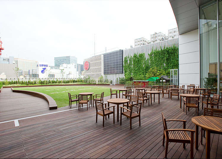 Visit roof terraces in Ginza during the free time of your sightseeing tour!