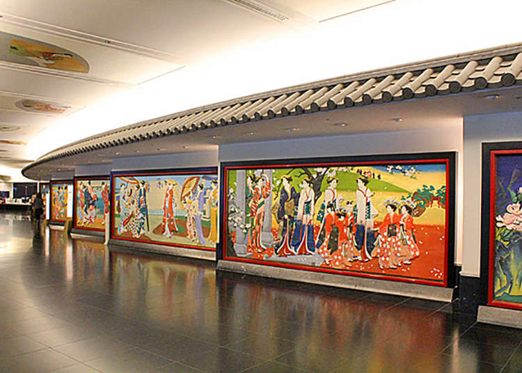 Colored wooden panels along the corridors