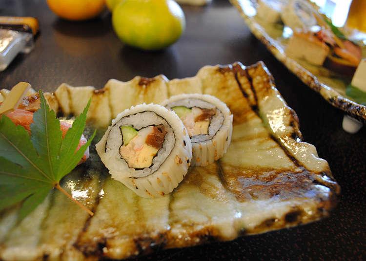 Lapisan atas (Topping) sushi yang unik.