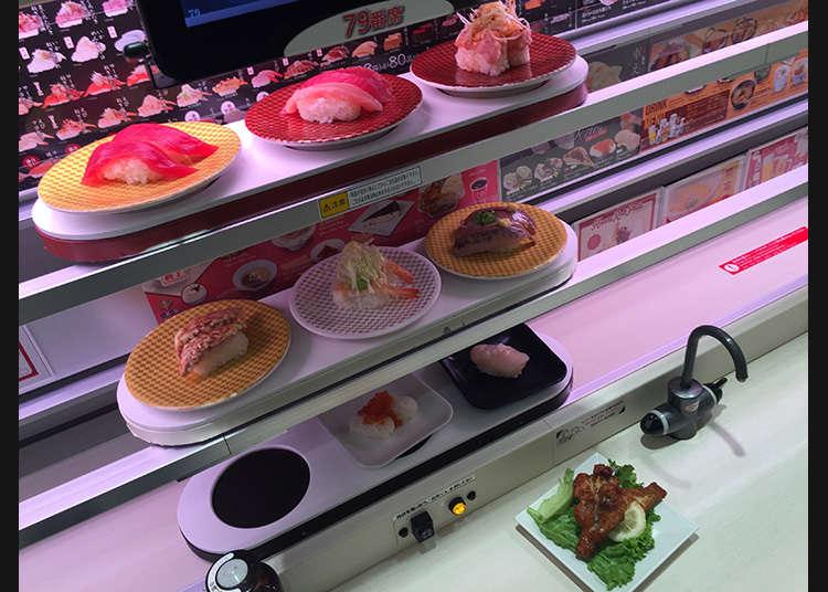 Penghantaran terus sushi menggunakan 3 peringkat laluan yang berkelajuan tinggi.