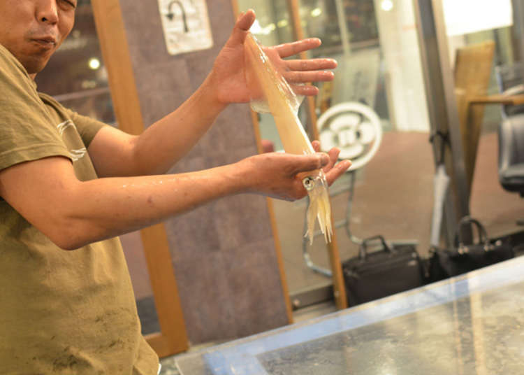 Tokyo Ika (Squid) Center: One of the Best Seafood Restaurants for Squid Sashimi