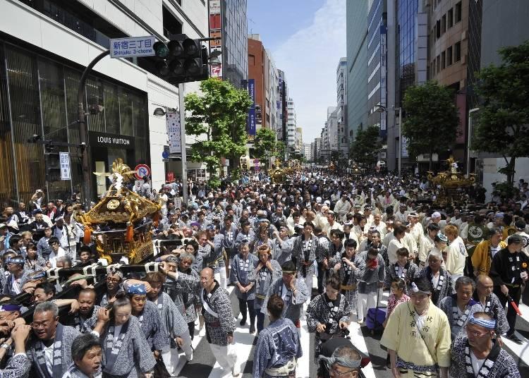 Hanazono Shrine Grand Festival with the spectacles of portable shrines