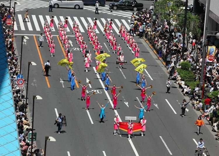 壮大なパレードは必見「銀座柳まつり」