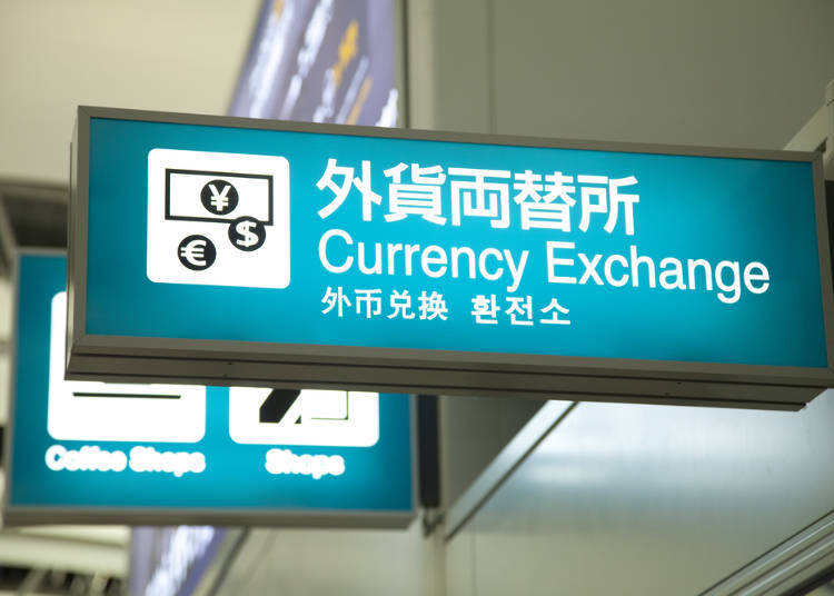 Pictograms of currency exchange office