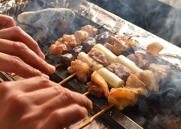 Yakitori (grilled chicken skewers) and Kushiyaki (roasted foods on skewers)