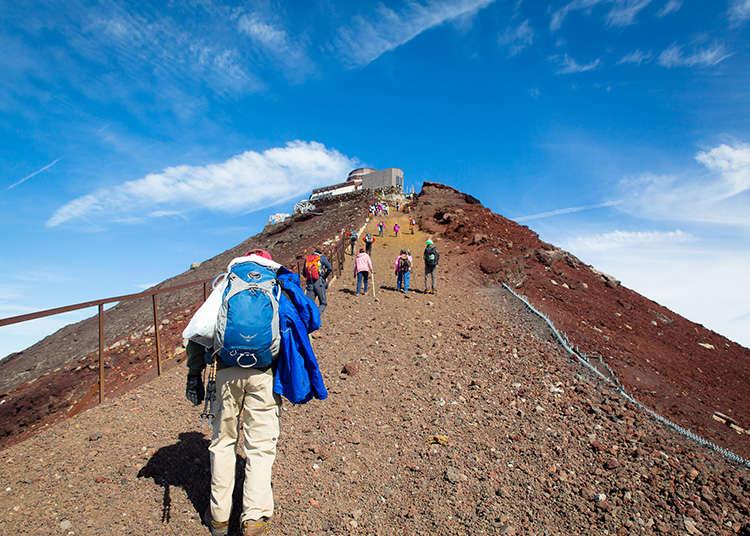 在富士山山頂上的挑戰和體驗