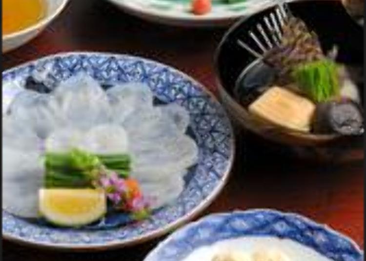 Nikmati kesegaran ikan fugu (ikan buntal) yang diimport terus dari Shimoseki.