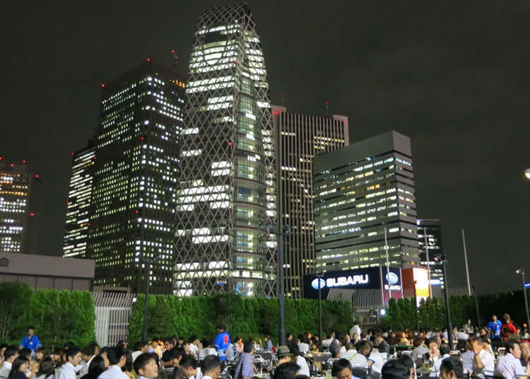眺望西新宿大廈群的地點