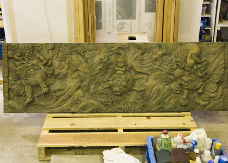 Scale model before producing a full-scale relief