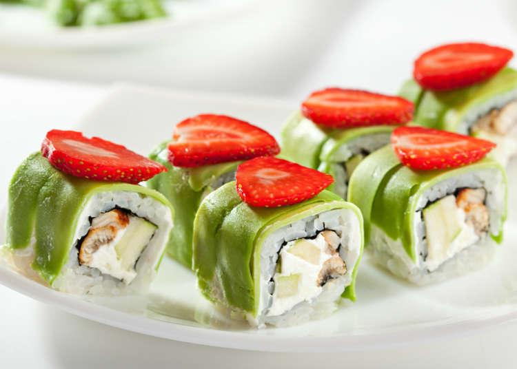 5.  スシロールがまさかのデザート化……その名も「フルーツ寿司」