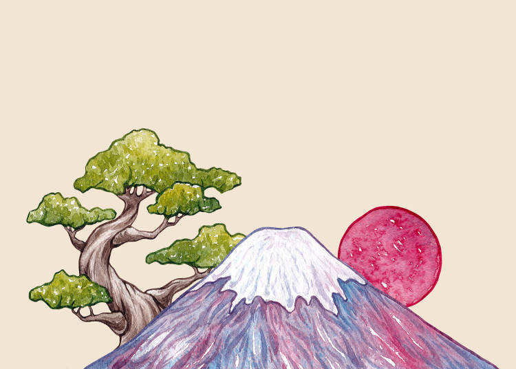 カエルの飛び込みと富士山の風