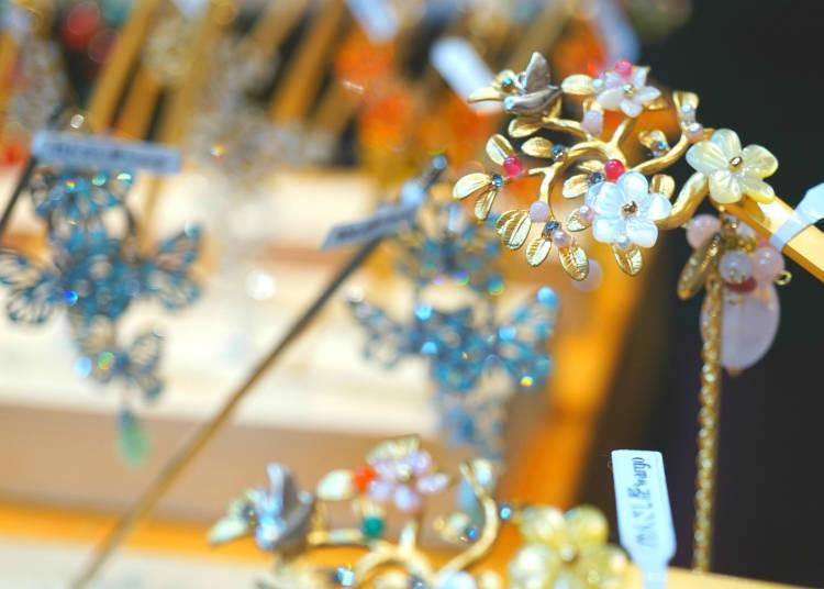 Traditional Japanese Hair Ornaments, Beautifully made by Kanzashiya Wargo