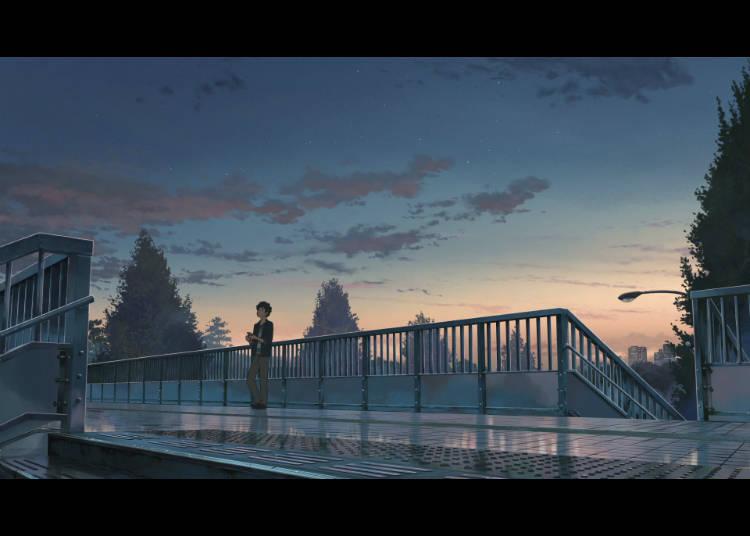 (1) สะพานลอยหน้าสถานีรถไฟJRชินาโนะมาจิ