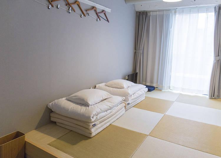 日本の家のようにくつろげる和室も