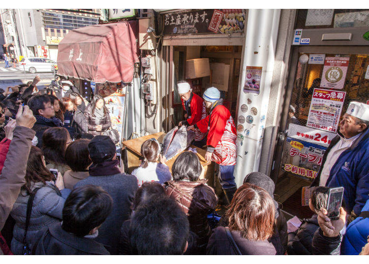 The Tuna Cutting Show, held in one of Tsukiji Market's Atmospheric Alleys