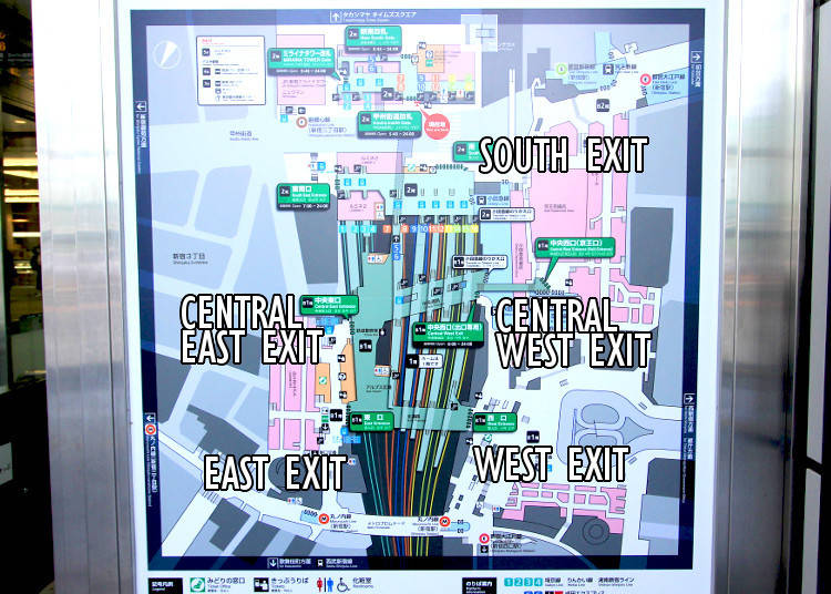 3) East, South, West - Shinjuku Statin's Three Main Exits