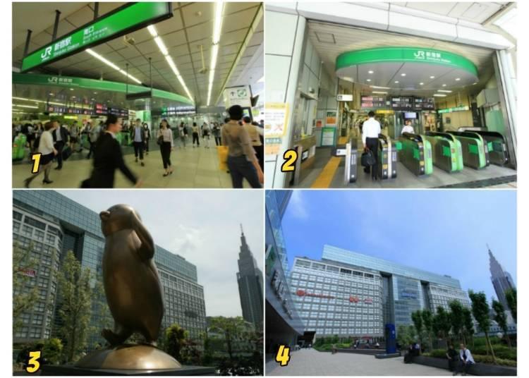 6) จากประตูฝั่งใต้สู่สถานีรถบัส และห้างทาคาชิมายะ