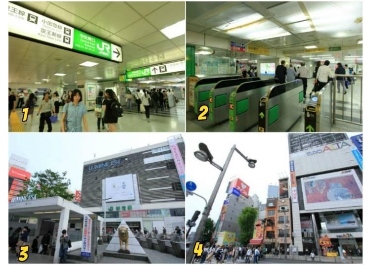 5)請由東口前往歌舞伎町、新宿ALTA、BICQLO、伊勢丹百貨
