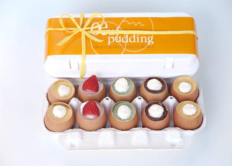 卵の殻を使った4つの味の濃厚プリン