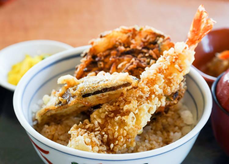 丼ものに人気集中。日本食の代表格、天ぷらもお手軽に