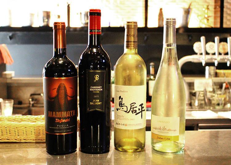 豊富な種類のワインを用意