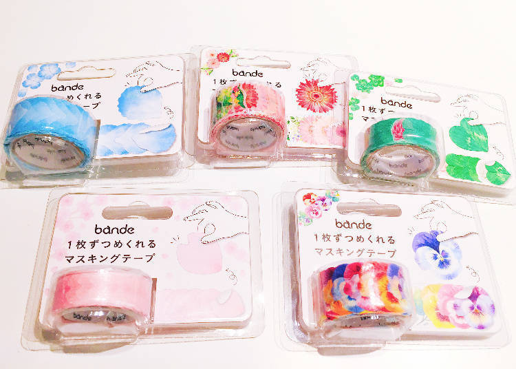 bande: Masking Tape in the Shape of Flower Petals/ bande マスキングロールステッカー 花びらミニ ピンク
