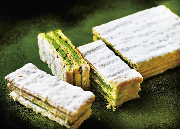 【PABLO】抹茶とチーズの相性は抜群!「チーズミルフィーユ‐宇治抹茶」/新宿メトロ食堂街