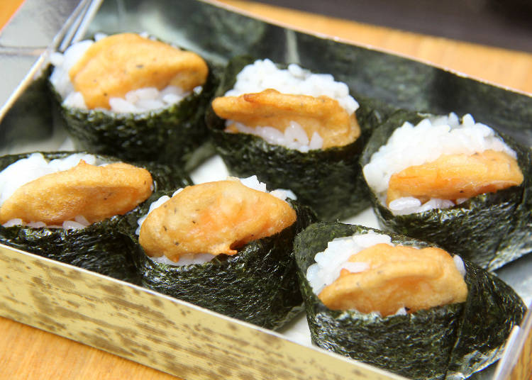 5) Crispy Shrimp: Try Tenmusu, Onigiri Filled with Shrimp Tempura