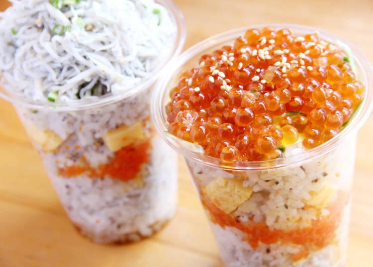 食べ歩きグルメ 2)溢れるほどのしらすといくら! 「はんなりいなり小町本店」でカップ寿司