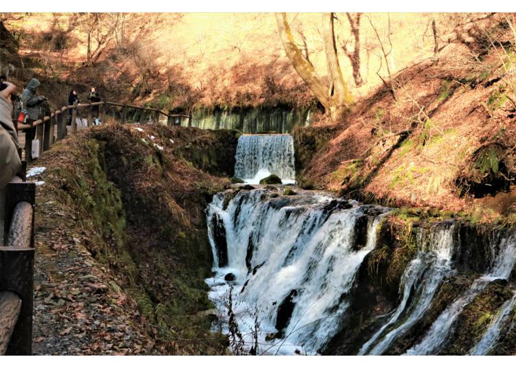 從寬70公尺的岩壁裡傾瀉出來如絲絲髮絲般的「白絲瀑布」