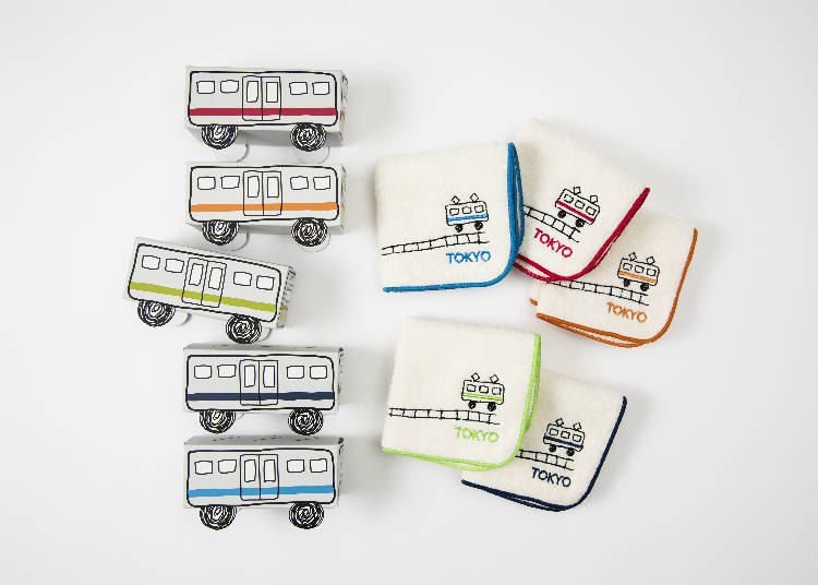 Souvenirs Only Available at Tokyo Station #2 - Train Towel Handkerchief (594 JPY each) *Boxcar sold separately (108 JPY)