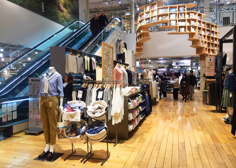 2F-Foods, Clothing, Stationery, Skin Care & Cosmetics, Bookstore, Kids' Space, MUJI Café, and Tax-Free Counter