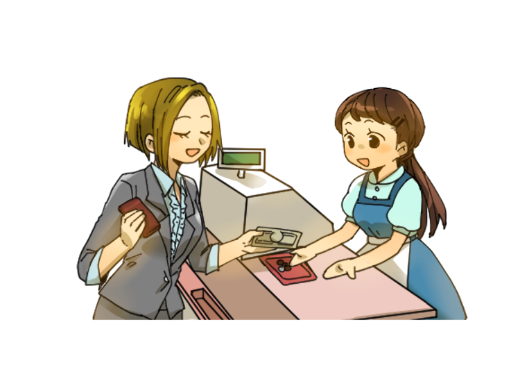Paying the Bill at a Japanese Family Restaurant