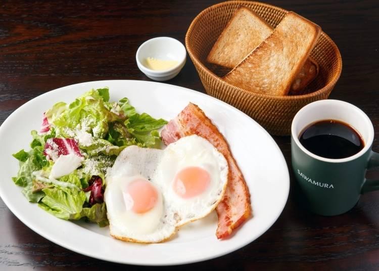 Breakfast at the Popular Bakery & Restaurant Sawamura Shinjuku