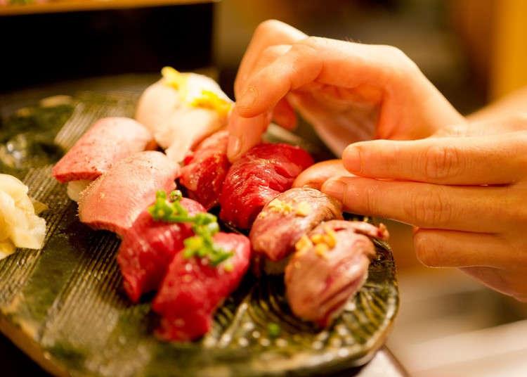 생선대신 고기를 초밥 위에 올린다! 이케부쿠로의 분위기 좋은 고기초밥가게! 니쿠스시(肉寿司)