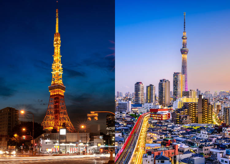 Tokyo Tower Vs Tokyo Skytree Close Comparison Of The Two