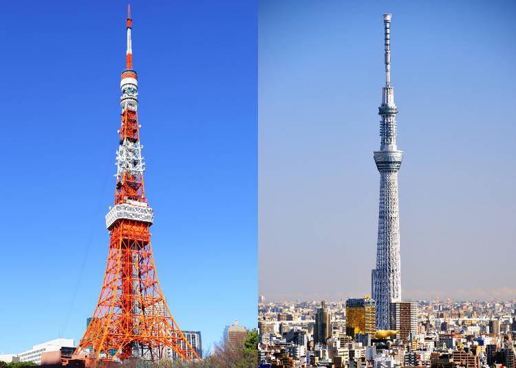 tokyo tower vs tokyo skytree close comparison of the two did you