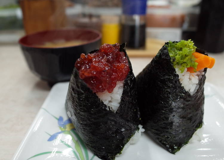Gourmet Spot #7 - Otsuka Ekimae: Bongo uses a rich selection of ingredients in its onigiri (rice balls)
